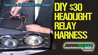 how to build a diy four light headlight relay harness for 30 episode 229 autorestomod