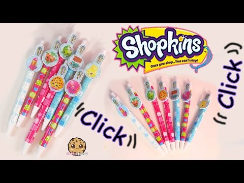 7 Shopkins Season 1 Clicker Pens Packs School Supply -  Fun Toy Unboxing Video Cookieswirlc