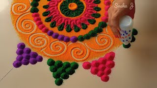 Small, easy and quick rangoli for beginners | Rangoli by Sneha J |