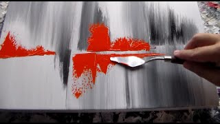 Acrylic Abstract Painting / Orange, Black and White / R-157