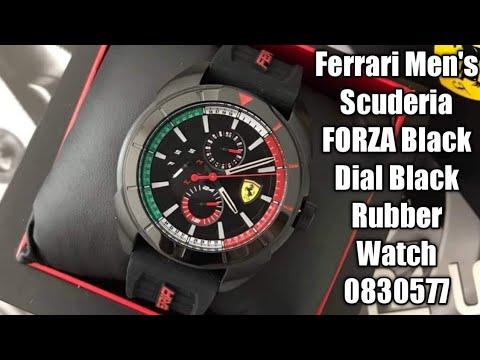 #Ferrari Men's Scuderia FORZA Black Dial Black Rubber Watch 0830577
