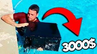 LE TIRO EL PC de 3000$ a LA PISCINA a MI AMIGO!!! (SE ENFADA MUCHO) | BROMA PESADA CÁMARA