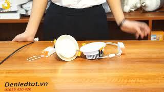 Bộ đèn led âm trần đế dày mặt vàng mặt bạc đơn màu có công suất 7w và 9w HC  LIGHTING