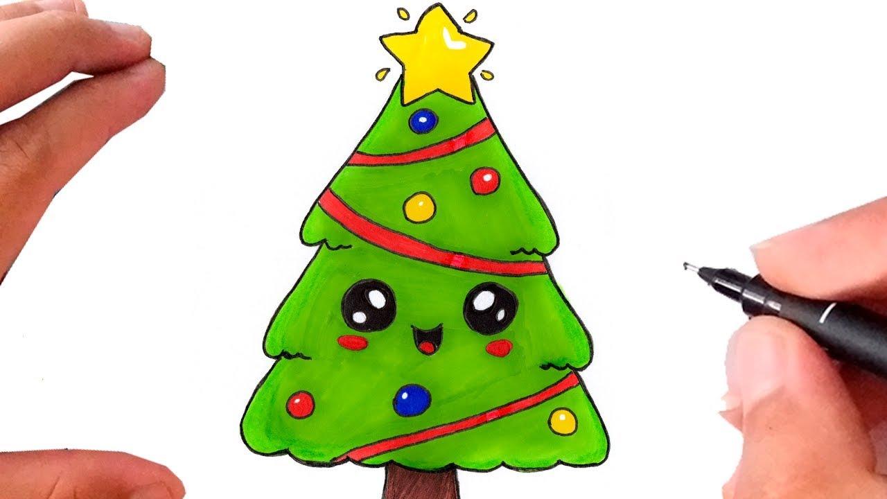 Como Desenhar Arvore De Natal Kawaii Super Facil Youtube