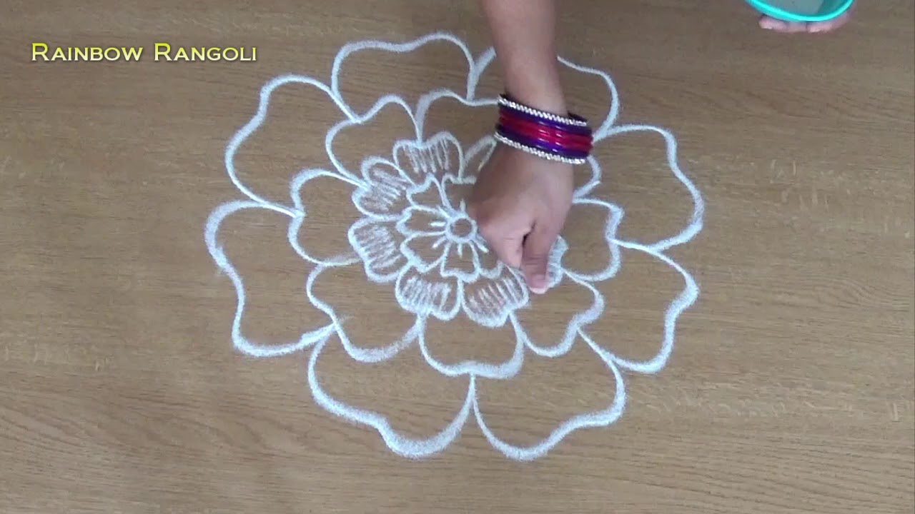 Simple Flower Kolam Designs With Out Dots Easy Small Flower