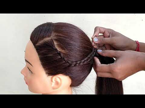 EASY BRAIDED WITH PONYTAIL HAIRSTYLES || unique hairstyle for girls thumbnail