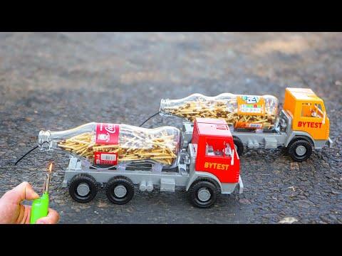 EXPERIMENT: Coca Cola vs Fanta (Turbo trucks)