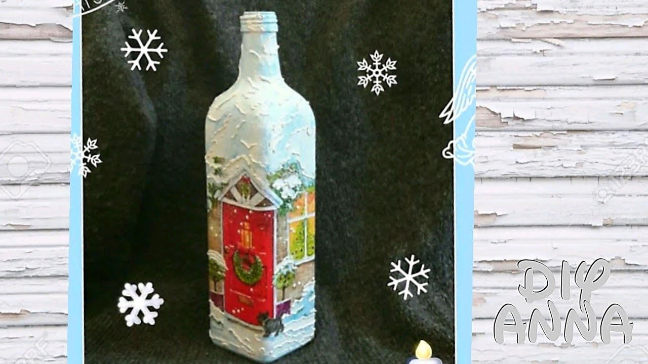Decoupage christmas bottle diy ideas decorations craft for Christmas bottle decorations