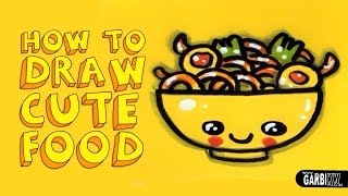 How To Draw a Cute Yakisoba - Kawaii Food - Easy Drawings by Garbi KW