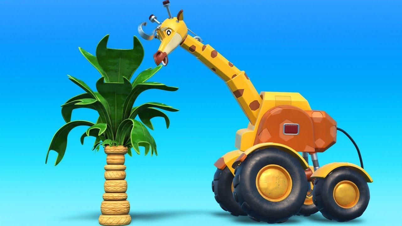 AnimaCars - Das Beste aus Giraffenkranich-Cartoons - Kinder Zeichentrickfilme mit Lastwagen & Tieren