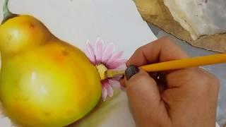 PINTURA EN TELA, como pinto una pera (segunda parte)