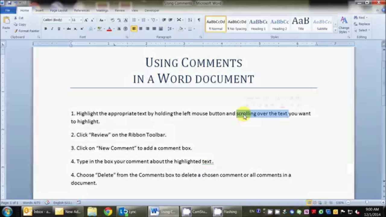 how to add comments in word youtube