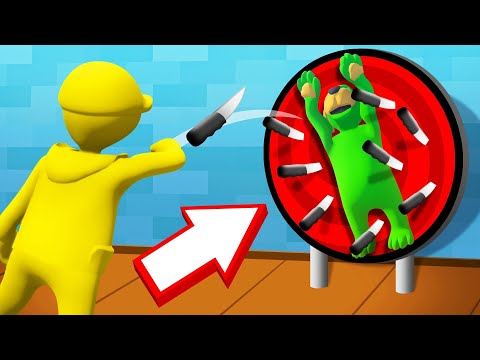 DODGE The KNIVES On A WHEEL! (Human Fall Flat)