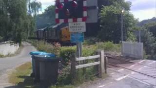 Class 37 (Pair) Thrash up Through Level Crossing 19 June 2010.wmv