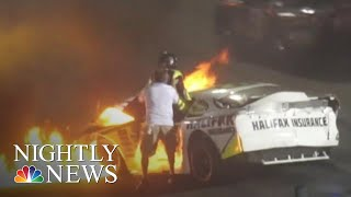 Father Pulls Son From Burning Car After Dramatic Racetrack Crash | NBC Nightly News