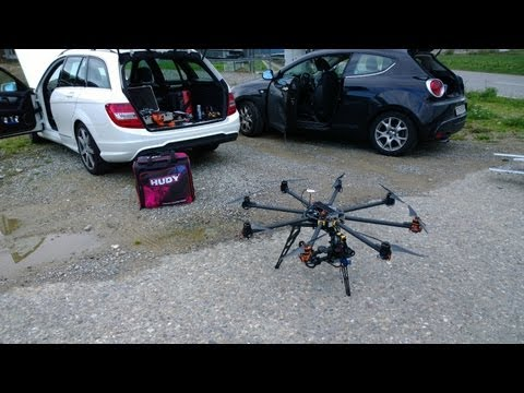 Tarot T1000 Octocopter maiden flight with 3 axis gimbal and Radian System
