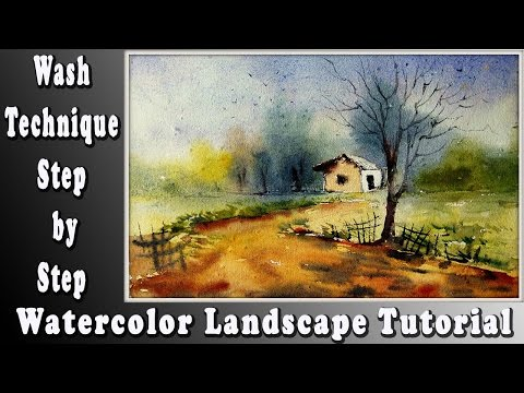 How to paint a simple landscape with watercolor wash technique for beginners