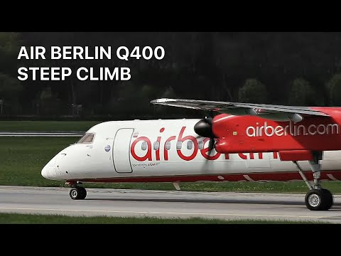 FERRY. Air Berlin Dash 8 Q400 departure after MAINTENANCE from Innsbruck