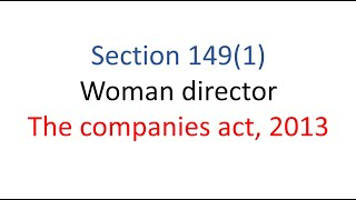 Section 149(1) woman director for Ca, CS, cma, bcom students