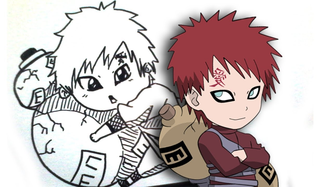 "How to draw Gaara Chibi from words ""GAARA"" [Naruto] - YouTube Gaara And Naruto Chibi"