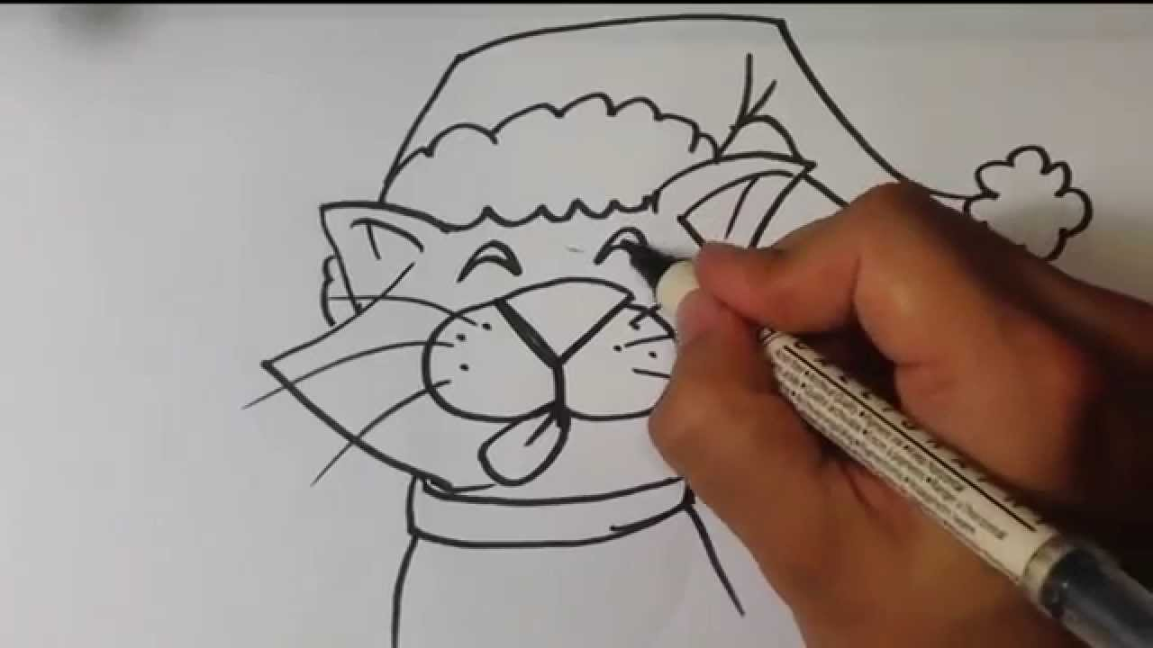 How to Draw a Christmas Cat - Christmas Drawings - YouTube