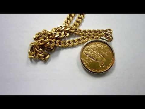 66 Gram 22K Gold Chain with Indian Head Gold Coin