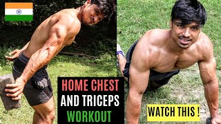 5 min. HOME Chest &Triceps WORKOUT (NO GYM NEEDED)| Fit Minds