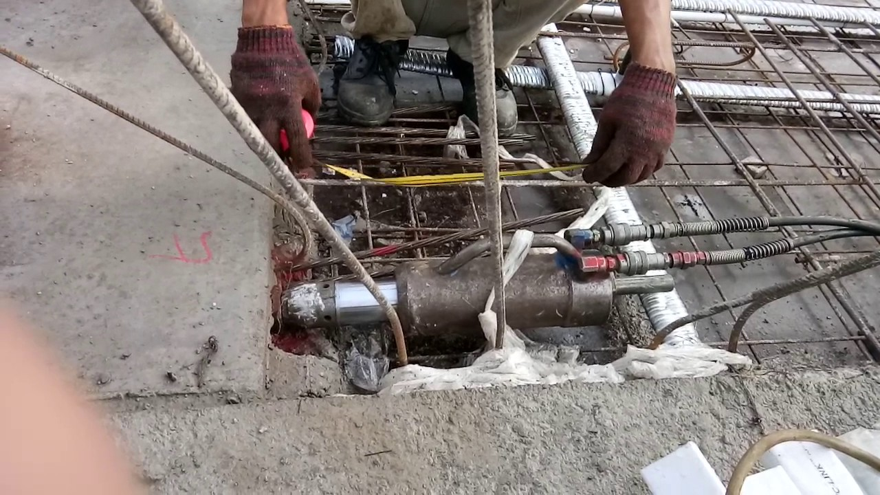 Tensioning Post Ductlastic : Cable stressing for post tension slab youtube