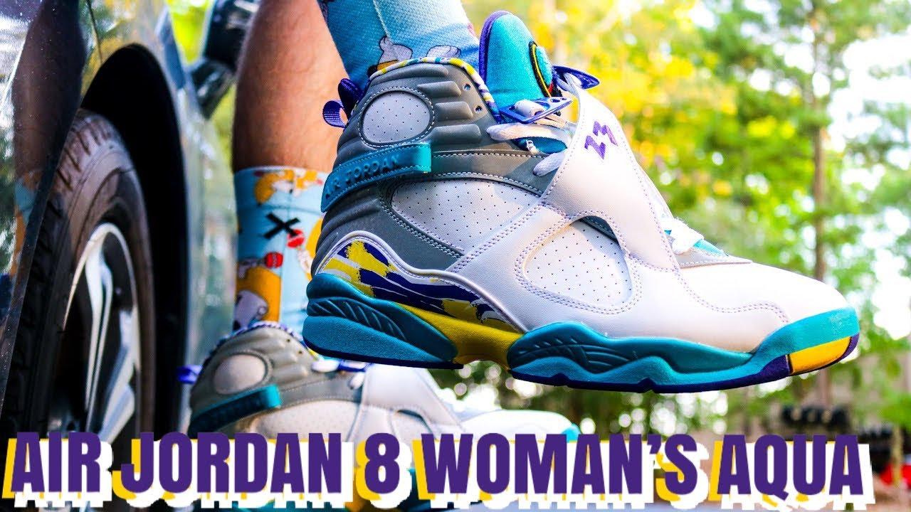 AIR JORDAN 8 WOMAN'S AQUA REVIEW \u0026 GAS