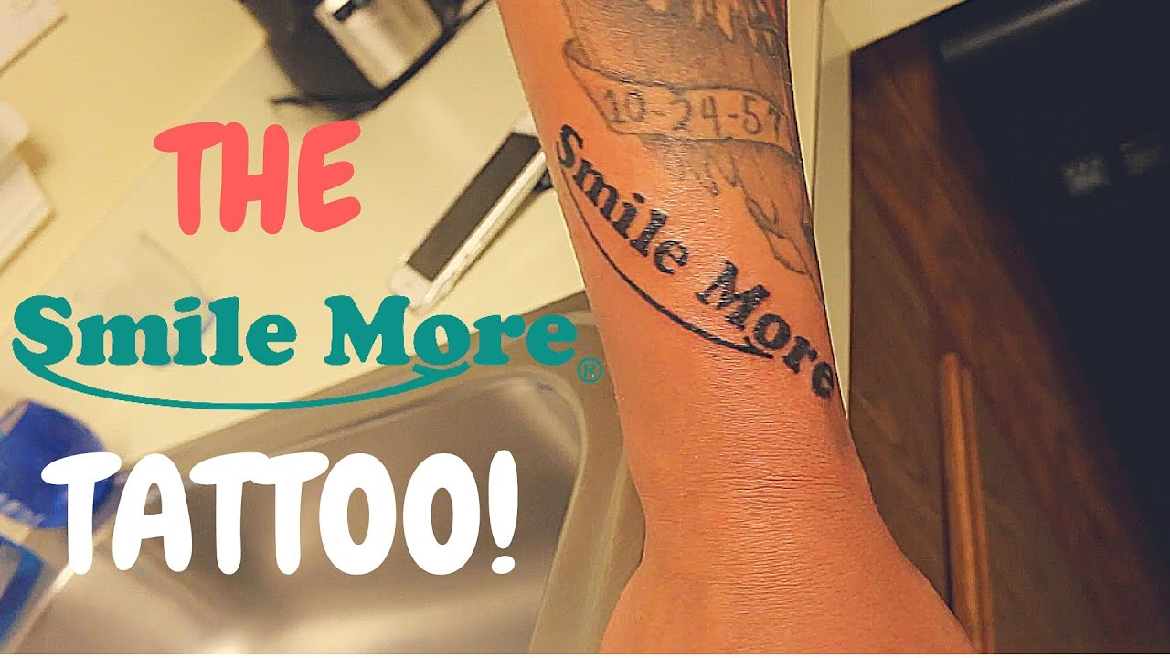 Getting a smile more tattoo youtube for Smile more tattoo