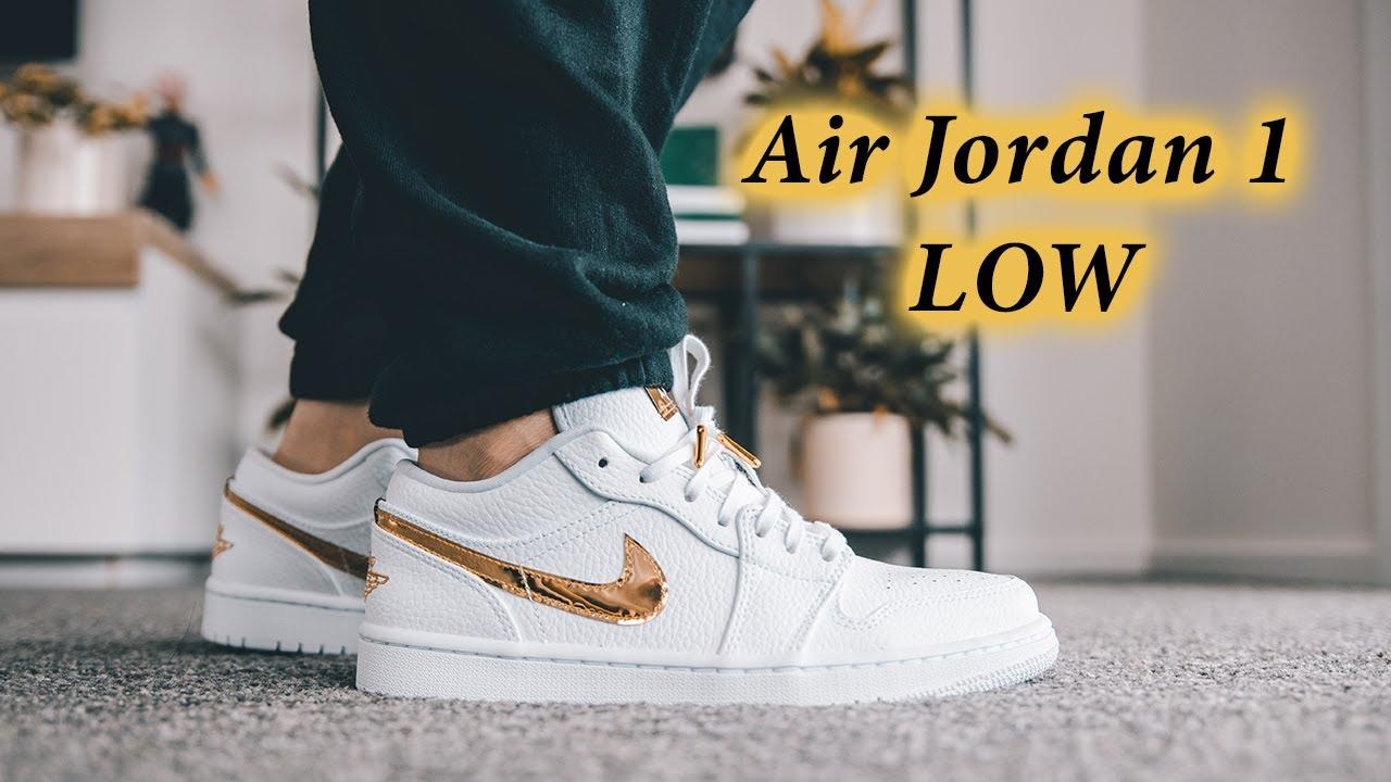 Air Jordan 1 Low White/Metallic Gold | SO CLEAN (On-Feet Ft. @Denise Lim )