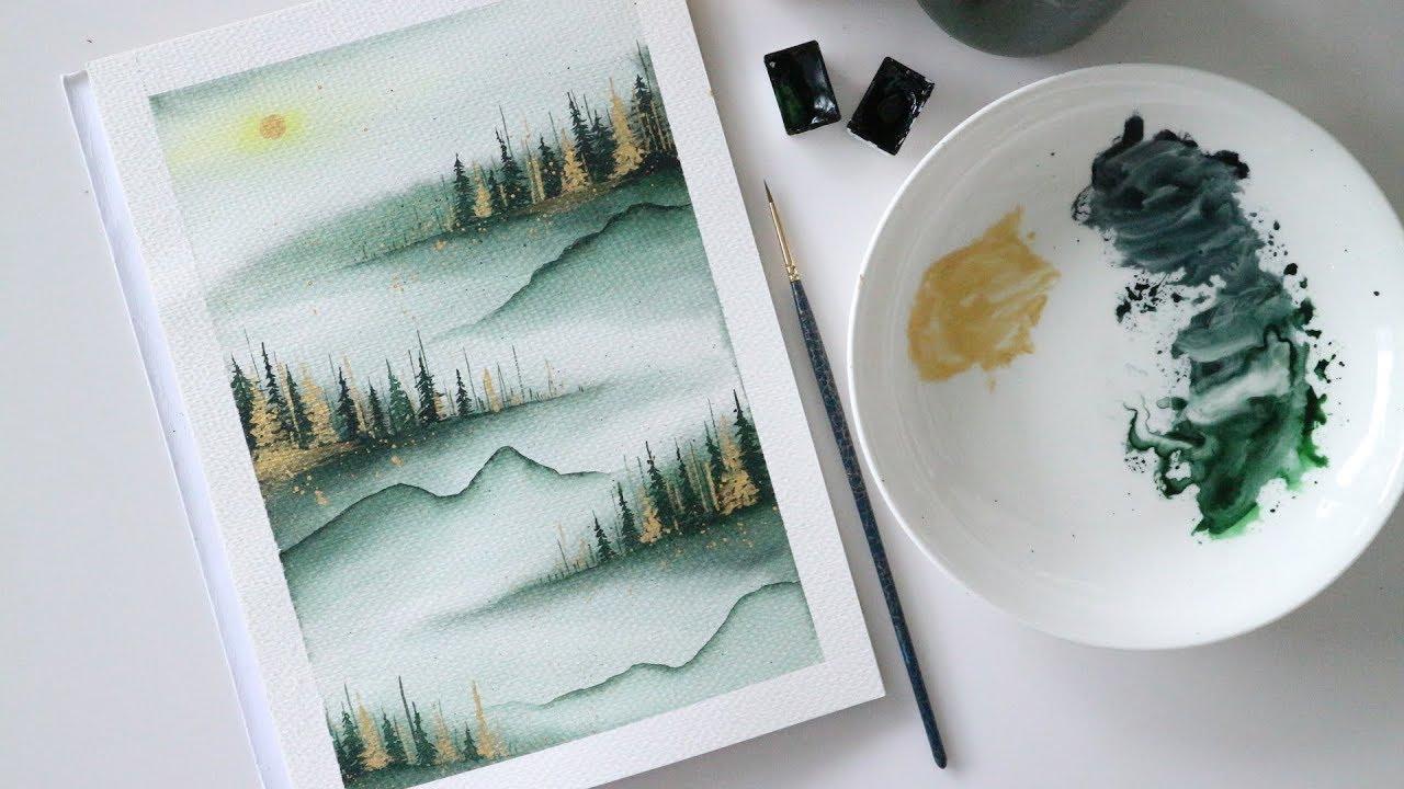 ART#18  Vẽ tranh phong cảnh – Rừng núi trong sương mù bằng màu nước  Watercolor Tutorial  Landscape
