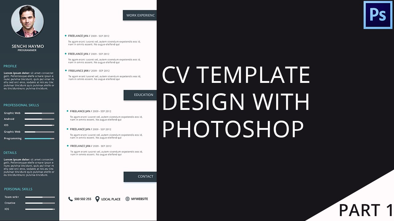 modern cv template design with photoshop part 1 2 youtube