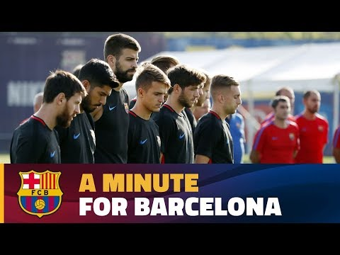 Thumbnail: FC Barcelona pay their respects to the victims of Thursday's attack in the city