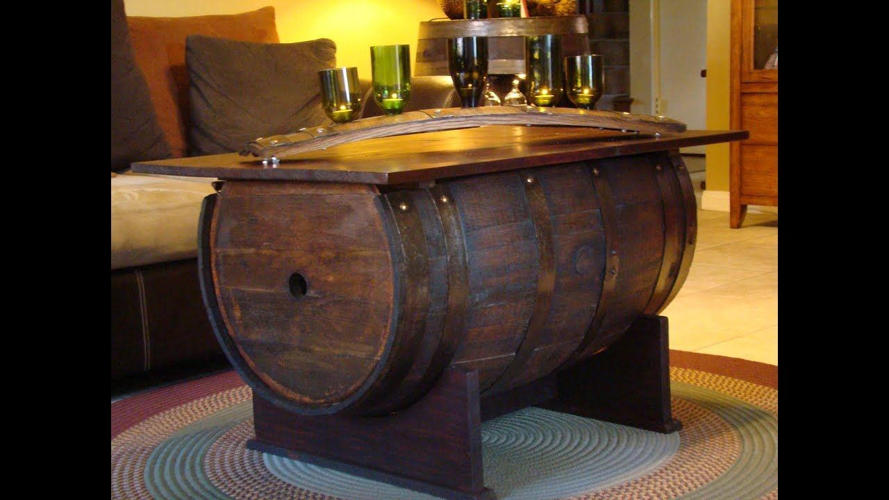 Wine Barrel Table  Wine Barrel Accent Table  YouTube