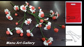 Download How to make flower with Carry Bags & Earbud Craft Idea For Home Decor/ Flowers making/ Flowers DIY