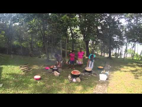 Panamanian women cooking for the Christmas Party