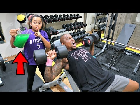SLIME PRANK IN MY DADS GYM!!