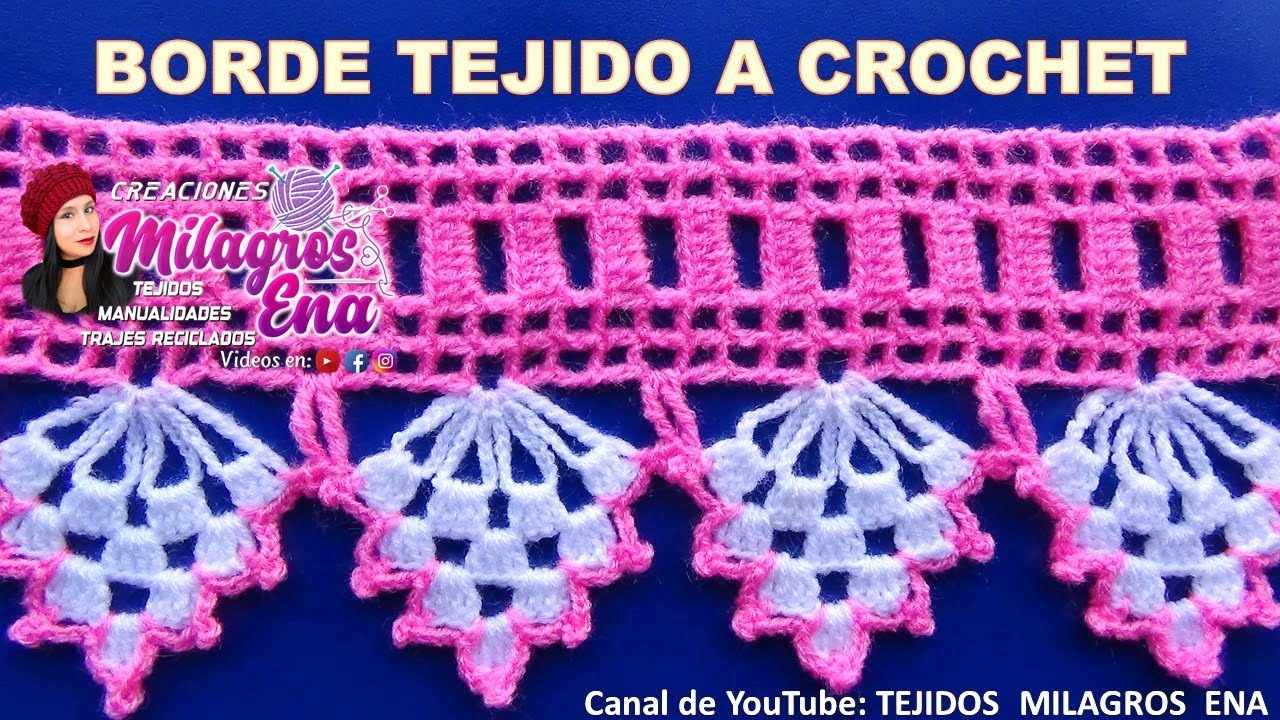 Borde, puntilla o orilla DE UVAS tejida a crochet para colchitas o ...