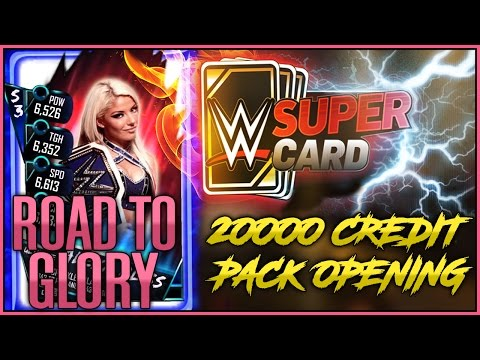 20000 Credit Pack Opening & Alexa Bliss Road To Glory - WWE SuperCard Season 3