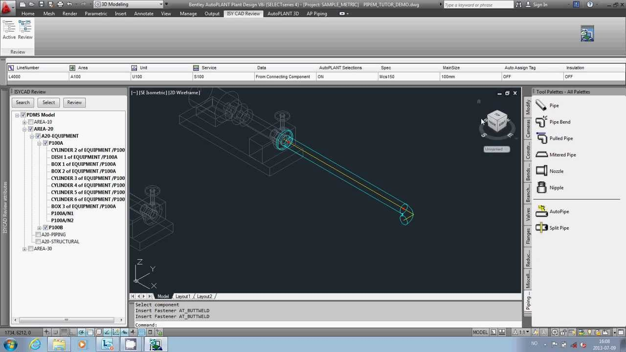 isy cad review with autoplant piping continue design from existing equipment - Autoplant 3d