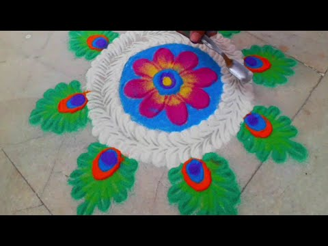 Easy &beautiful colour full rangoli #pongal #festivals