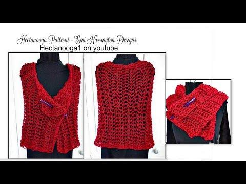 CROCHET SHAWL, How To Crochet A Basic Summer Shawl, Red Shawl, Video # 1238