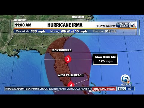 11 a.m. Wednesday Irma update: Track moves toward the east