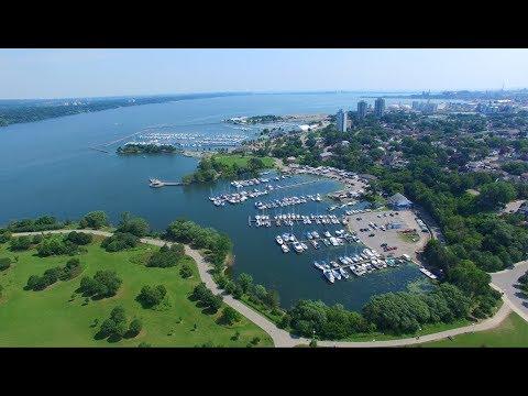 City of Hamilton - Beautiful Aerial View of Burlington Bay | Bayfront Park 4K UHD