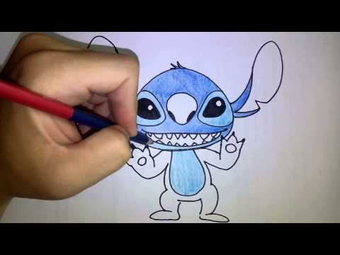 สอนวาดรูป ระบายสี การ์ตูน สติทซ์ Stitch วาดการ์ตูนกันเถอะ