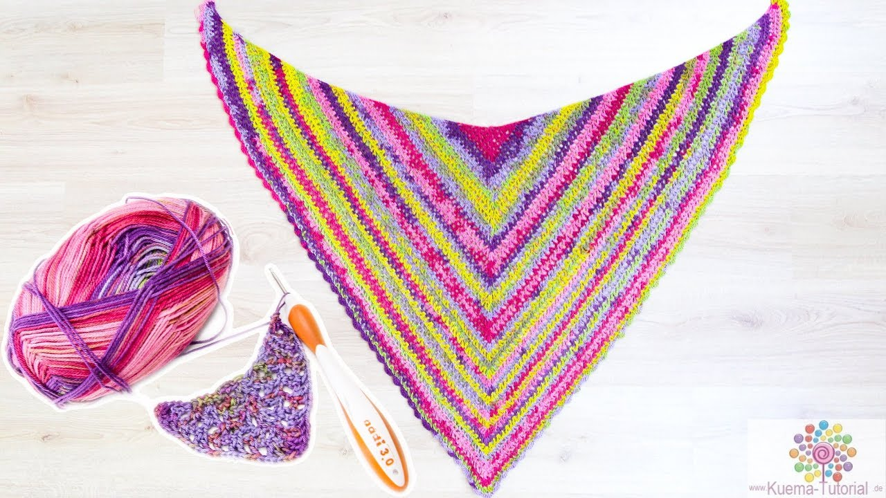 Super Einfaches Dreieckstuch Häkeln Eine Runde Tuch Anfänger