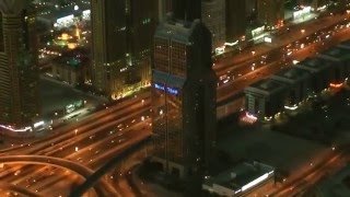 Night view of Sheikh Zayed Rd. from At the Top - Burj Khalifa, Dubai, UAE