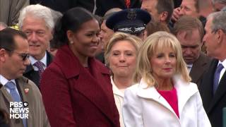 First lady michelle obama and second jill biden enter the inauguration day 2017 ceremony at u.s. capitol in washington d.c.