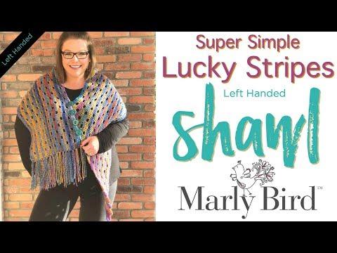 Easy Beginner How to Crochet Super Simple Lucky Stripes Shawl [Left Handed]